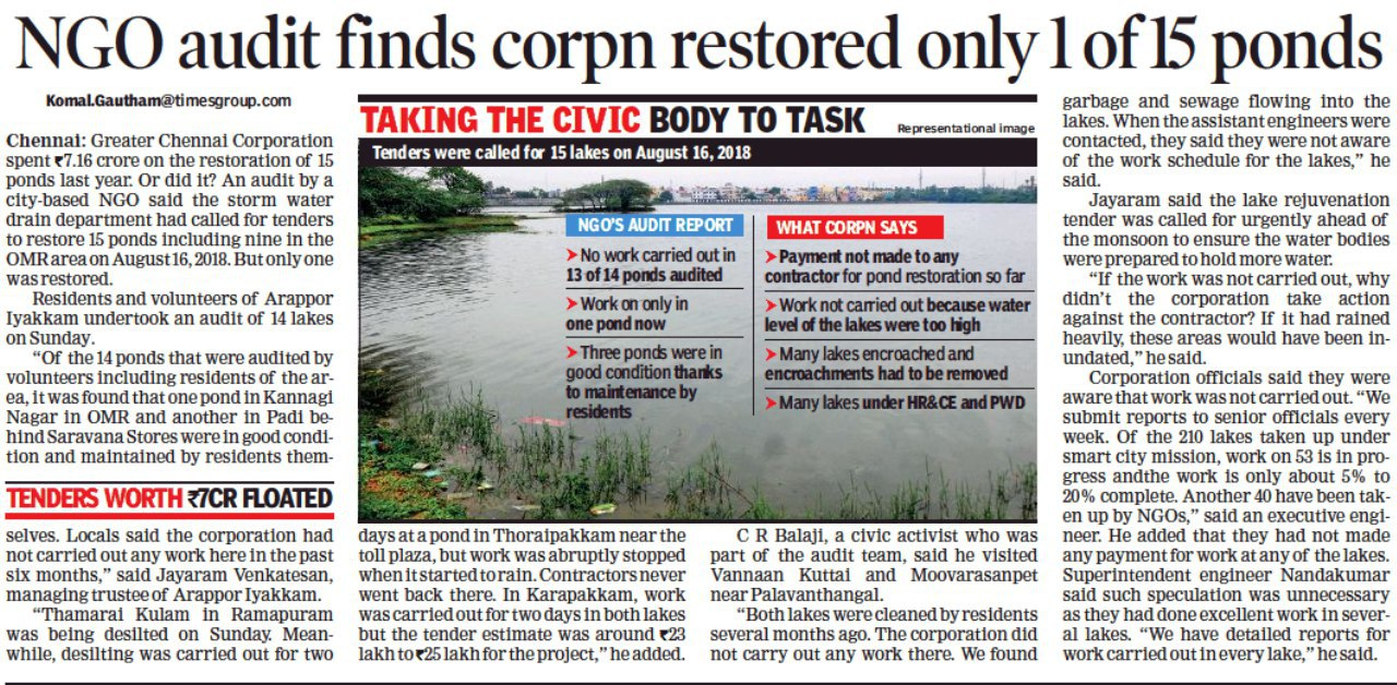 Status of Ponds in Chennai Corporation