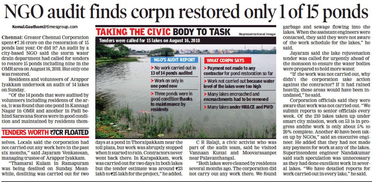 Status of Ponds in Chennai Corporation - Arappor Iyakkam