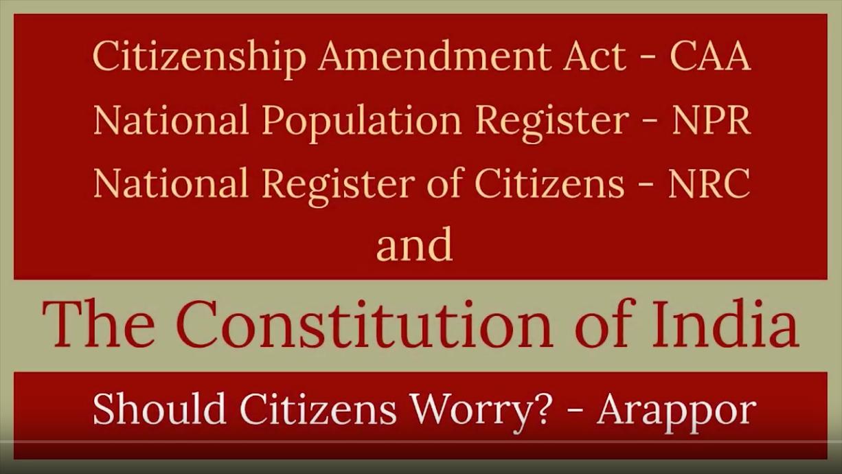 Why Is Arappor opposing CAA & NRC? - Jayaram Venkatesan